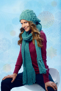 Hat and Scarf with Block Stripes in Schachenmayr Bravo Mezzo - S8407