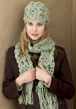 Crochet Squares Hat & Scarf in Red Heart Fiesta - WR1597 - Downloadable PDF