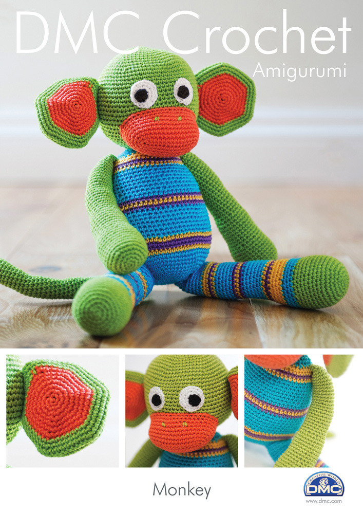 Monkey Toy In Dmc Petra Crochet Cotton Perle No 3 15048l2