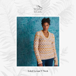 Soleil Levant V Neck - Sweater Knitting Pattern For Women in Willow & Lark Ramble and Poetry by Willow & Lark