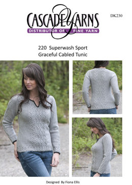 Graceful Cabled Tunic in Cascade 220 Superwash Sport - DK230