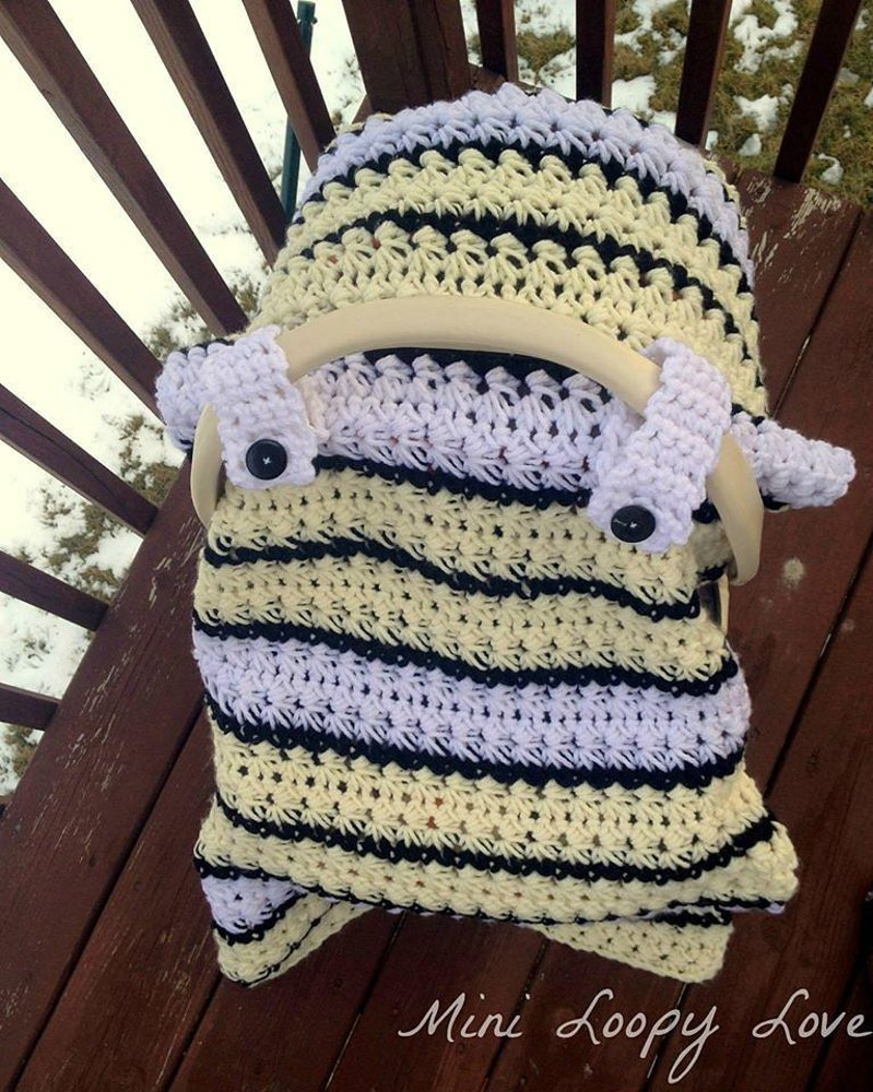 Chunky Star Stitch Car Seat Canopy Cover Crochet Pattern By Crochet