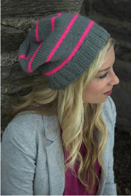 Neon Striped Hat in Plymouth Encore Worsted - F522