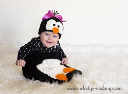 Poppy Penguin Hat and Cocoon Set ~ Crochet Version