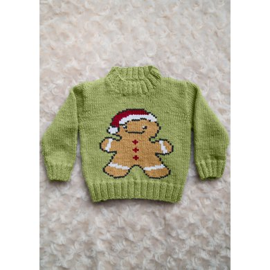 Intarsia Gingerbread Man Chart Childrens Sweater Knitting