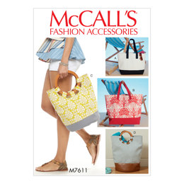 McCall's Misses' Lined Tote Bags with Contrast Variations M7611 - Paper Pattern Size One Size Only