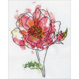 Design WorksPink Floral Counted Cross StitchKit - 8in x 10in