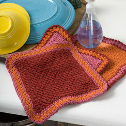 Crochet Dandy Dishcloths in Red Heart Eco-Cotton Blend Solids - WR1867 - Downloadable PDF