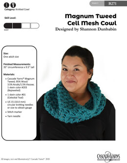 Cell Mesh Cowl in Cascade Yarns Magnum Tweed - B271 - Downloadable PDF