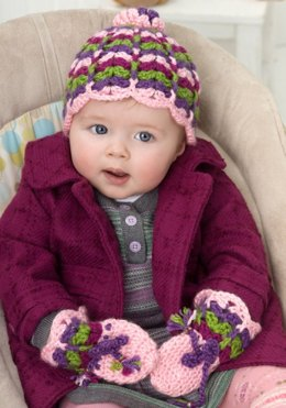 Scalloped Baby Hat and Mittens in Red Heart Soft Solids - LW2495