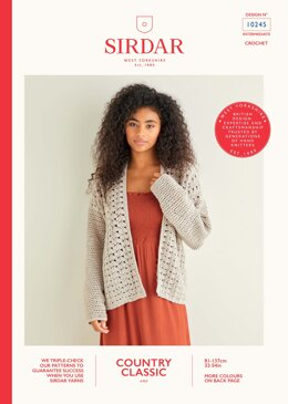 Crochet Cardigan in Sirdar Country Classic 4ply - 10245 - Downloadable PDF