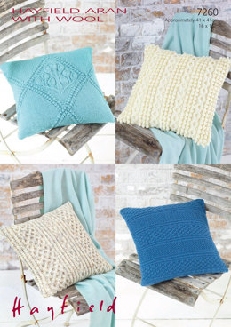 Knitted Cushion Covers in Hayfield Aran with Wool 100g - 7260 - Downloadable PDF