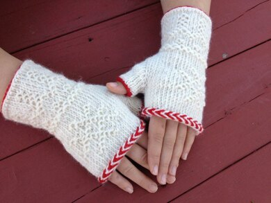 Twined Knitted Fingerless Mitts