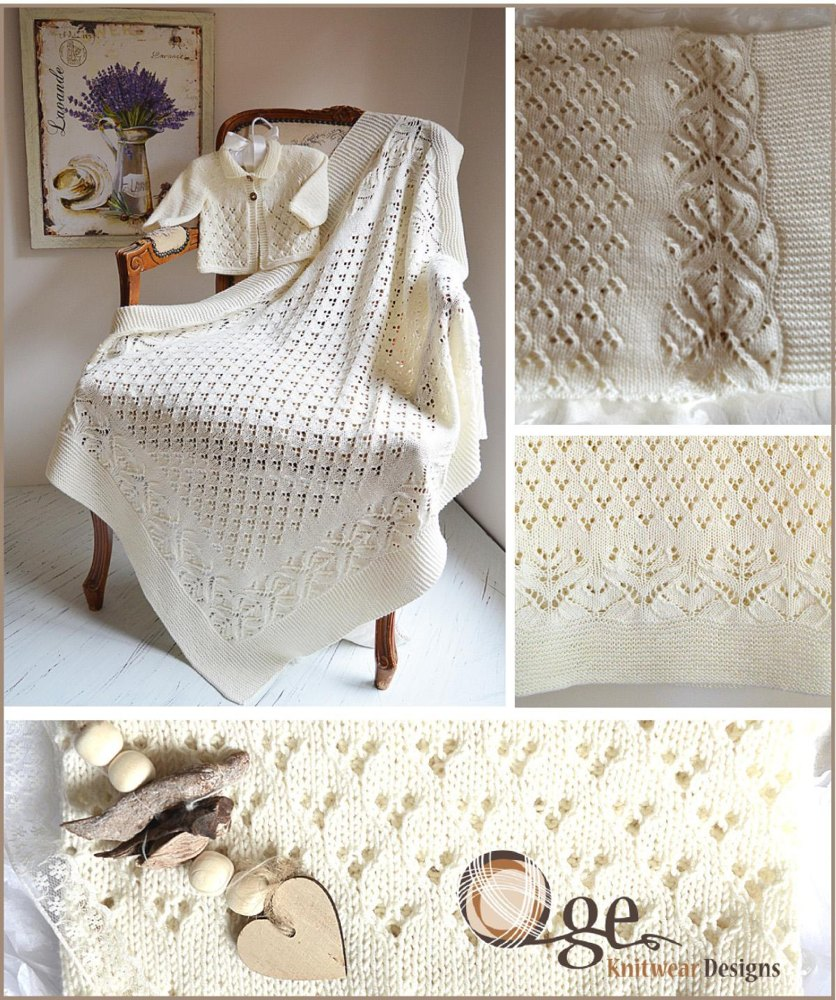 Lace and Diamond Heirloom Blanket and matching Jacket - P098 Knitting pattern...