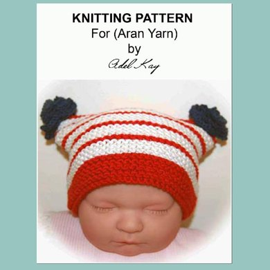 Ciara Patriotic UK USA Flag Colours Red White Blue Roses Stripes Hat by Adel Kay