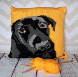 Labrador Pet Portrait Cushion Cover Knitting Pattern