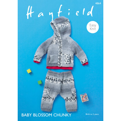Hooded Jacket & Trousers in Hayfield Baby Blossom Chunky - 4864 - Downloadable PDF