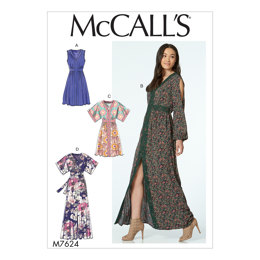 McCall's Misses' Banded Gathered Dresses with Sleeve and Length Options M7624 - Sewing Pattern
