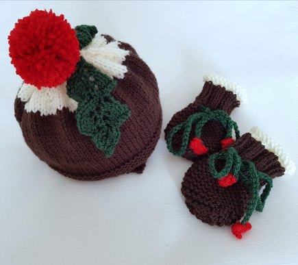Christmas Pudding Hat Mittens Knitting Project By Precious Newborn