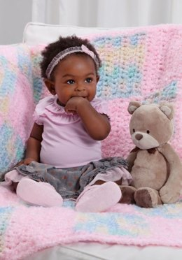 Color Blocked Blanket  in Red Heart Baby Clouds Solids and Baby Clouds Multis - LW2720