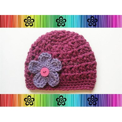 Eve Hat with Changeable Flower-Preemie to Adult Sizes