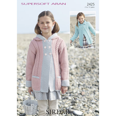 Hooded & Flat-Collared Cabled Coat in Sirdar Supersoft Aran - 2425