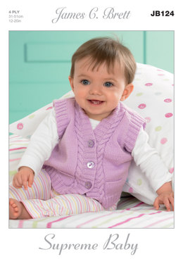 Waistcoats and Slipovers in James C. Brett Supreme Baby 4 Ply - JB124