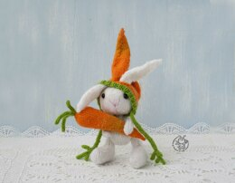 Bunny and carrot knitted flat