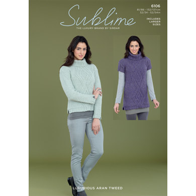 Sweater and Sweater Dress in Sublime Luxurious Aran Tweed - 6106
