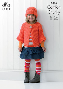Children's Jacket, Hat & Cardigan in King Cole Comfort Chunky - 3395