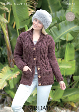 Easy Knit Cable Cardigan with Pockets in Sirdar Big Softie - 9829