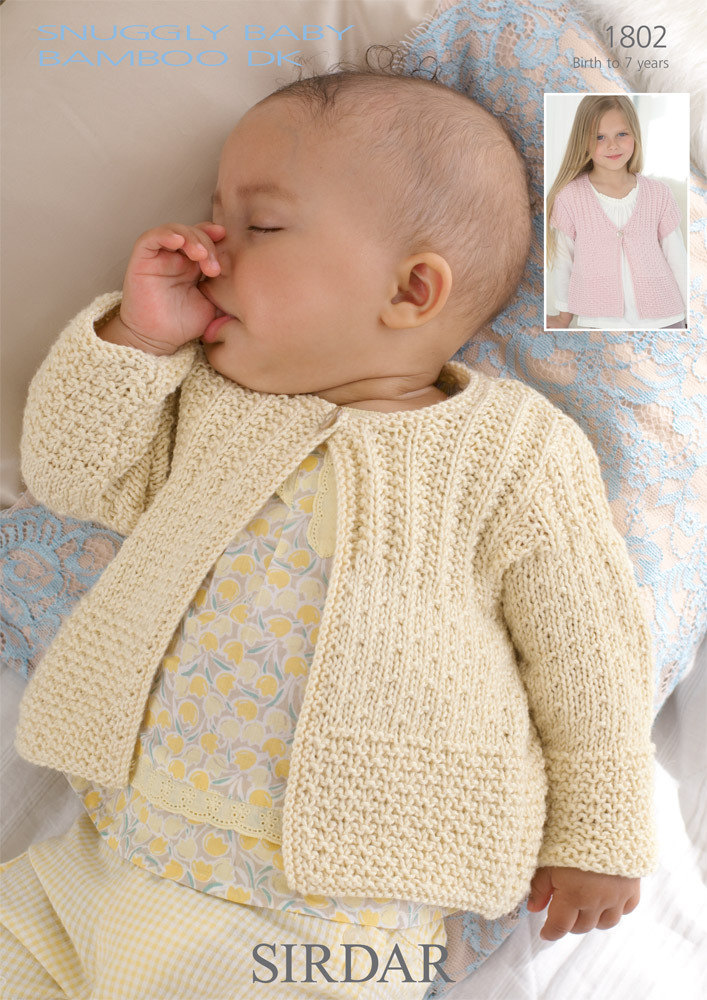 Cardigans In Sirdar Snuggly Baby Bamboo Dk 1802 Downloadable Pdf