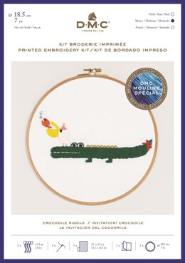 "DMC Invitation! Crocodile (printed fabric, 7"" hoop) Embroidery Kit"