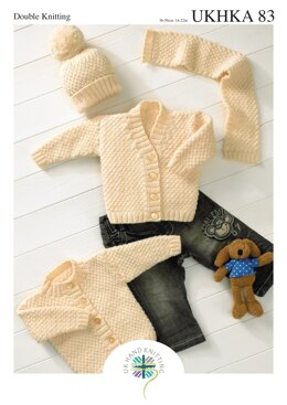 Cardigans, Hat and Scarf in King Cole Baby DK - UKHKA83pdf - Downloadable PDF