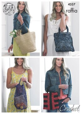 Crocheted Bags in King Cole Raffia - 4337 - Downloadable PDF