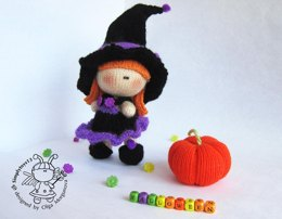 Pebble doll Young Witch and Pumpkin