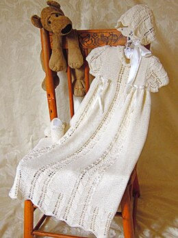 Christening gown, bonnet and shoes set - P005