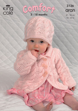 Coat, Dress, Sweater and Hat in King Cole Comfort Aran - 3136