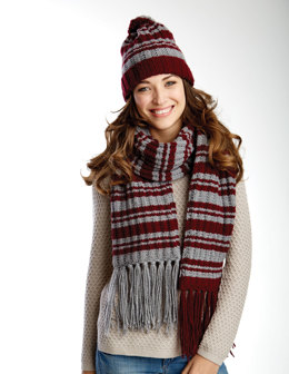 Varsity Stripes Scarf & Hat Set in Caron United - Downloadable PDF