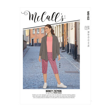 McCall's Misses' & Women's Knit Shawl Collar Jacket, Tops With Slits, Banded Skirt & Pants M8163 - Sewing Pattern