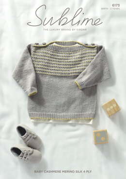 Jumper in Sublime Baby Cashmere  Merino Silk 4 Ply - 6173 - Leaflet