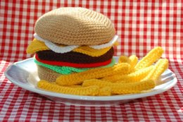 Crochet & Knitting Pattern for a Cheeseburger and Chips / Fries - Amigurumi Food