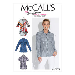 McCall's Misses' Button-Down Shirts with Collar, Sleeve and Pocket Variations M7575 - Sewing Pattern