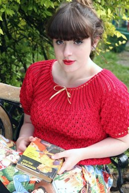 Ribbon Threaded Jumper in Susan Crawford Coquette 4 Ply Vintage Cotton