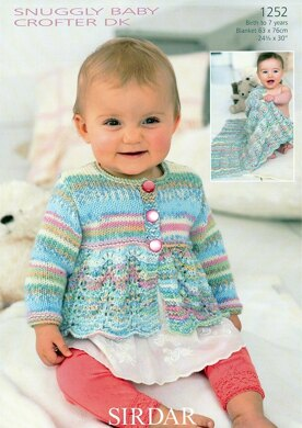 Blanket and Scalloped Edge Cardigan in Sirdar Snuggly Baby Crofter DK - 1252