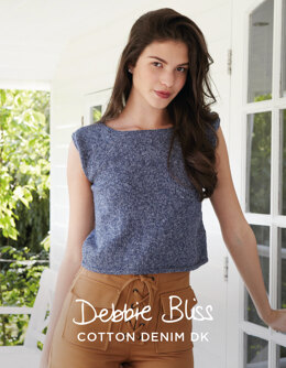 """Indie Top"" - Top Knitting Pattern For Women in Debbie Bliss Cotton Denim DK - DBS050"