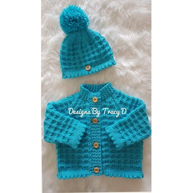 Caitlin Baby Cardigan Hat Booties Knitting Pattern 0 3 6 12mths