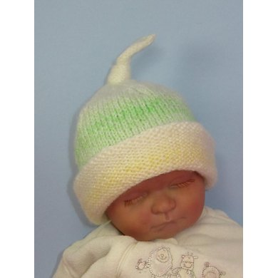 Baby Double Cuff Marble Topknot Beanie Hat