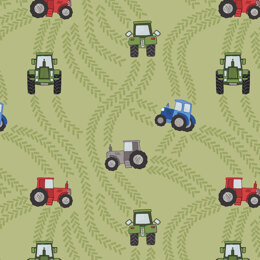 Lewis & Irene Piggy Tales - Tractor trails on green