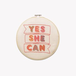 Cotton Clara Yes She Can Embroidery Hoop Kit